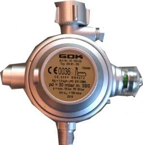Gewerbe-Gasdruckregler mit Schlauchbruchsicherung Verleihmaterial 50mbar