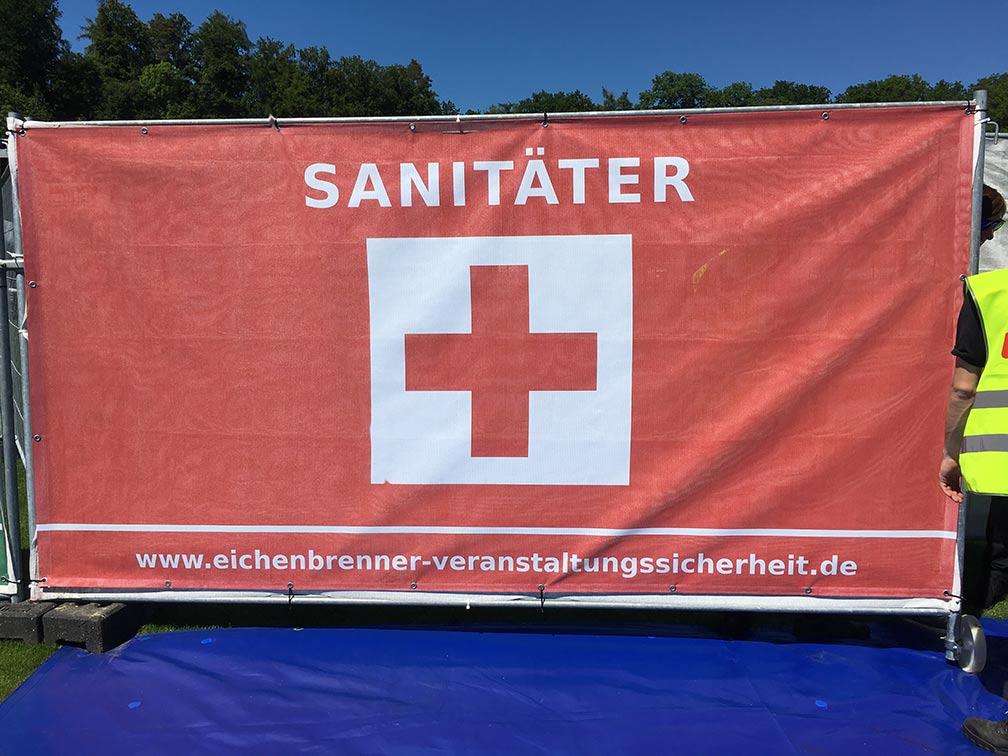 Sanitäter-Banner Sanitätsdienst Medic Event Eichenbrenner Veranstaltungssicherheit EVS Safety Konstanz Bodensee