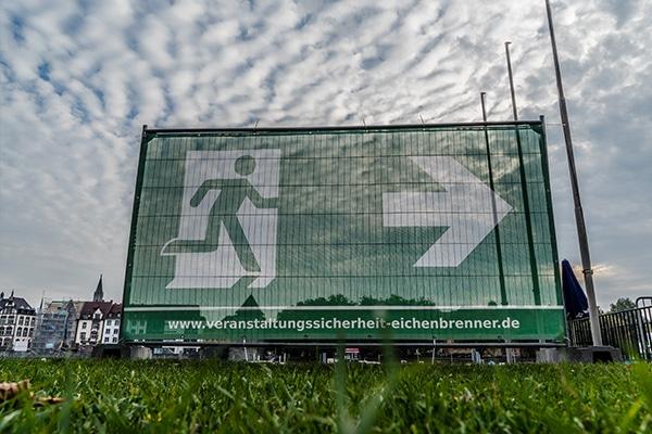 Notausgang-Banner Exit Event Fluchtweg Eichenbrenner Veranstaltungssicherheit EVS Safety Konstanz Bodensee