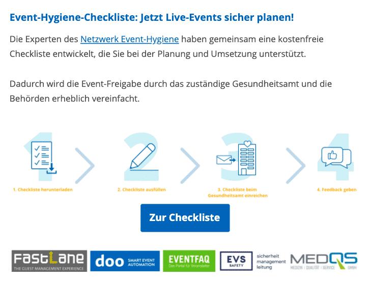 """""""Checkliste Event-Hygiene"""" veröffentlicht"""