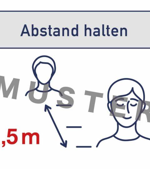 """Schild / Plakat """"Abstand Halten"""", 2 Stk"""