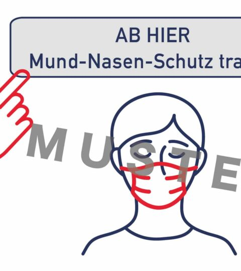 """Schild / Plakat """"Mund-Nasen-Schutz Tragen"""", 2 Stk"""