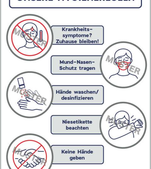 """Hygieneregeln"" Praxis – Piktogramme Mit Text, 4 Stk"