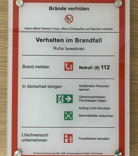 """Premium-Schild Acryl """"Verhalten Im Brandfall"""" – Brandschutzordnung Teil A*"""