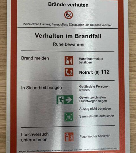 """Premium-Schild Aluminium """"Verhalten Im Brandfall"""" – Brandschutzordnung Teil A*"""